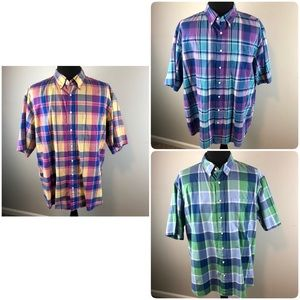 Lot of 3 Jos. A. Bank Stays Cool Plaid Shirts 2XL